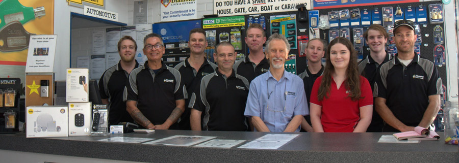 The team at diamond lock and security ready for service.